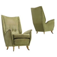 Pair of Italian High Back Lounge Chairs by ISA