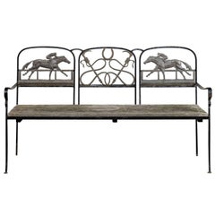 20th Century Iron and Brass Equestrian Bench, Wooden Seat