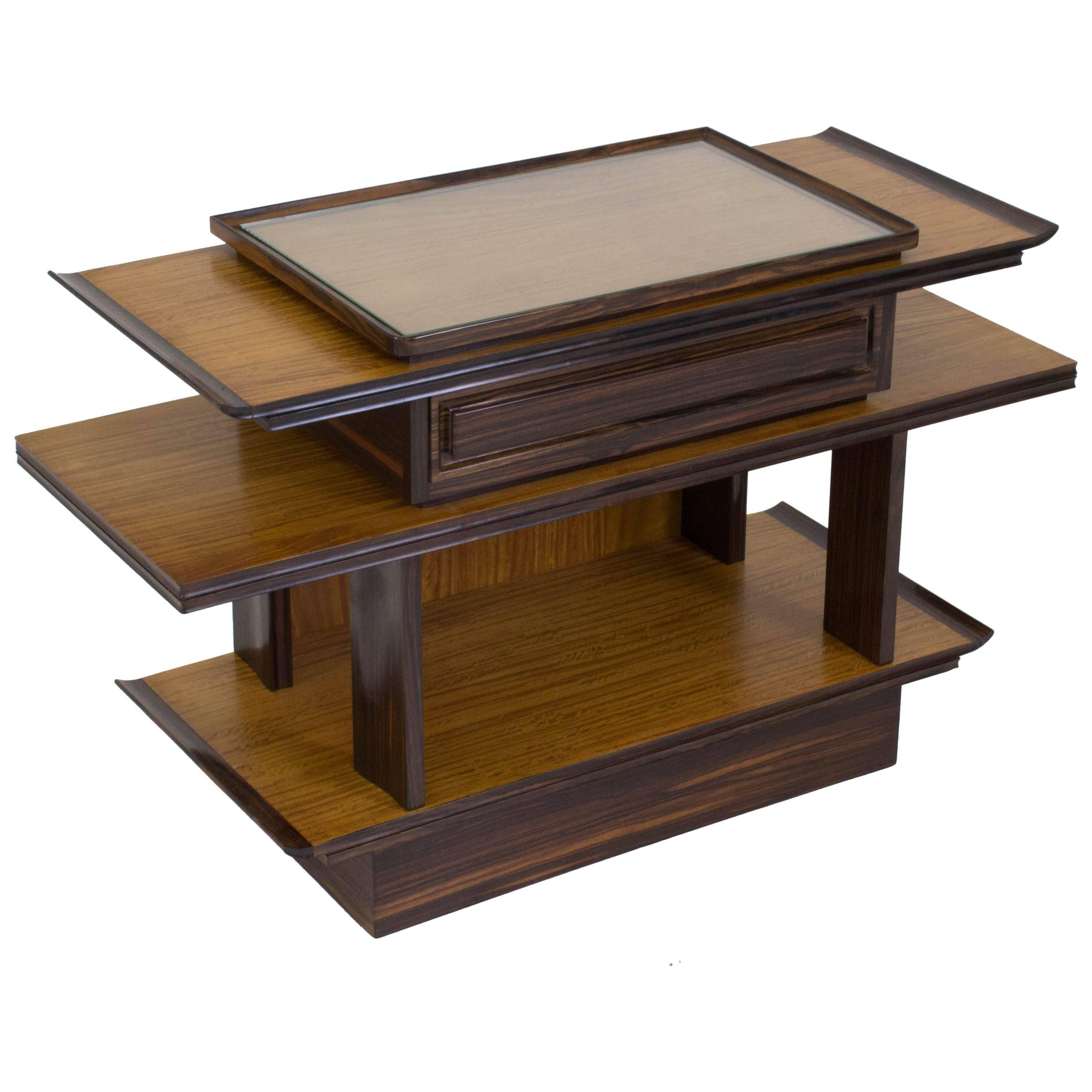 sycamore maple art deco console table by for gebrreens 1930s