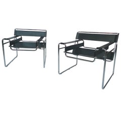Black Leather and Steel Wassily Chairs by Marcel Breuer, Pair