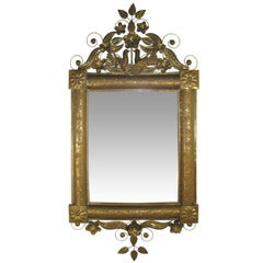 Antique Mexican Mirror in Brass and Silvered Glass, Oaxaca, Mexico, circa 1950