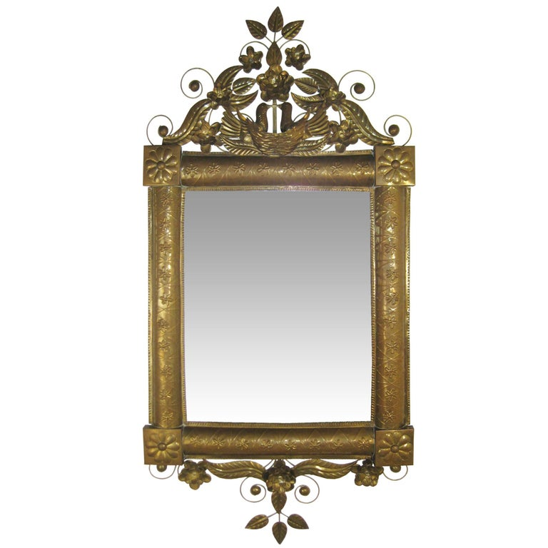 Antique Mexican Mirror in Brass and Silvered Glass, Oaxaca, Mexico, circa 1950 1