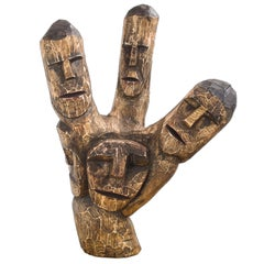 Brazilian Hand-Carved Wood Sculpture Heads Totem