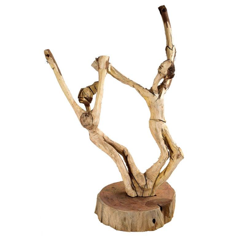 Brazilian Hand-Carved Wood Sculpture Frevo Dancers For Sale