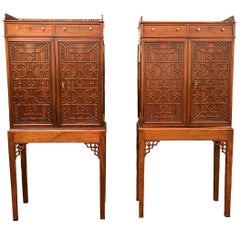 Pair of Chinese Chippendale Small Cabinets on Stands