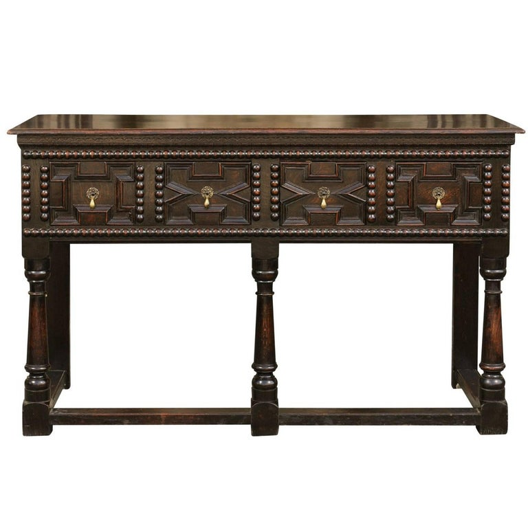 English 1880s Geometric Front Two-Drawer Dark Oak Server with Baluster Legs
