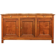 Narrow French 1880s Linear Wooden Enfilade with Three Drawers over Three Doors