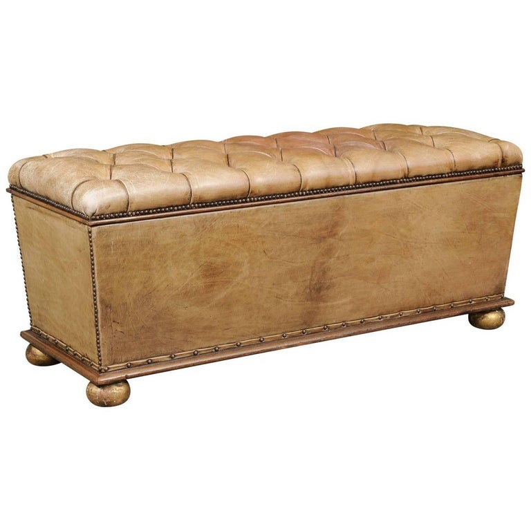 English Tufted Leather Ottoman with Giltwood Frame and Storage, circa 1910