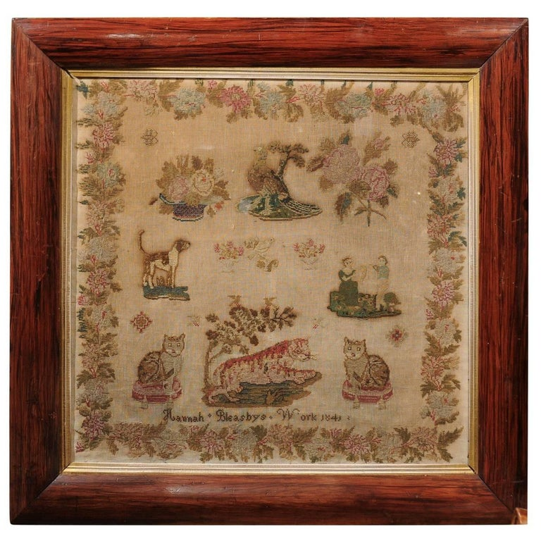 English Framed Petit Point Sampler with Animals and Floral Motifs, circa 1840