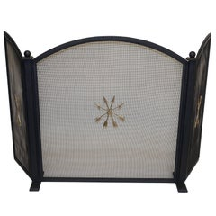 French Empire Style Wrought Iron Fireplace Screen