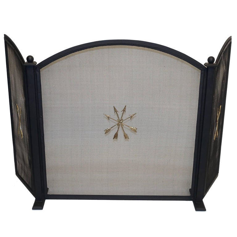 French Empire Style Wrought Iron Fireplace Screen For Sale