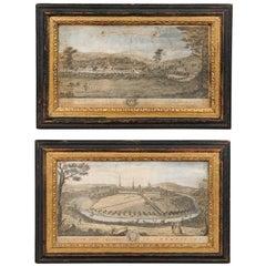 "Pair of Framed 18th Century ""Samuel & Nathaniel Buck"" Landscape Engravings"