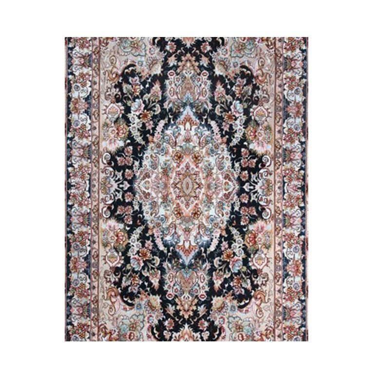 Khatibi Black-Master Khatibi Genuine Persian Tabriz Rug or Carpet