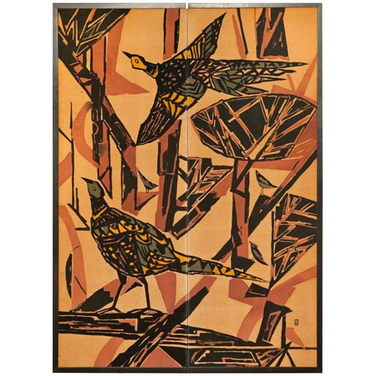 Japanese Screen Pheasants In An Abstract Landscape For Sale At 1stdibs