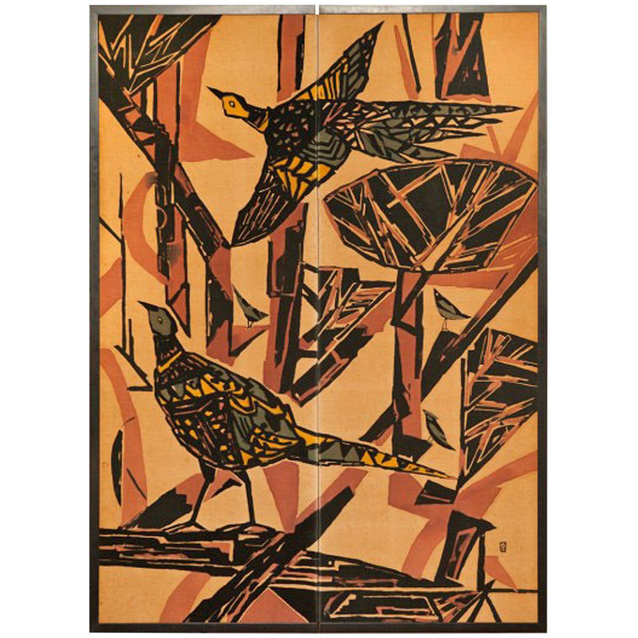 Japanese Two Panel Screen: Pheasants in an Abstract Landscape