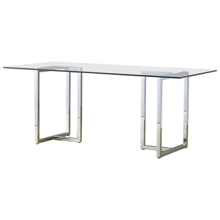 Chrome and Glass Dinning Table or Desk