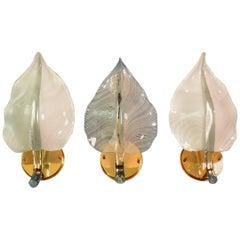 Regency Murano Crystal Glass Leaf Wall Sconces, 1970s, Set of Three