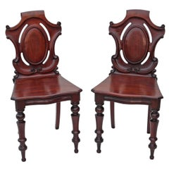Antique Pair of 19th Century Victorian Carved Mahogany Hall Side Bedroom Chairs