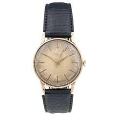 Waltham 9 Carat Gold Wristwatch with Leather Strap, 20th Century