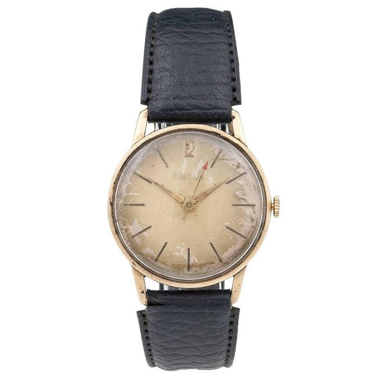 Waltham 9 Carat Gold Wristwatch with Leather Strap, 20th Century 1