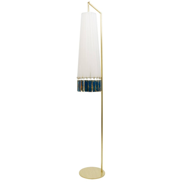 Magic Standing Lamp in Brass, white strips, sky silvered glass Sheets