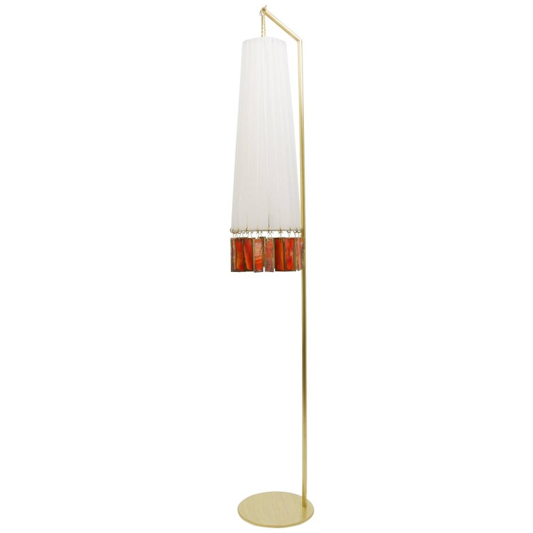 Magic Standing Lamp in Brass, white strips, orange silvered glass Sheets  For Sale