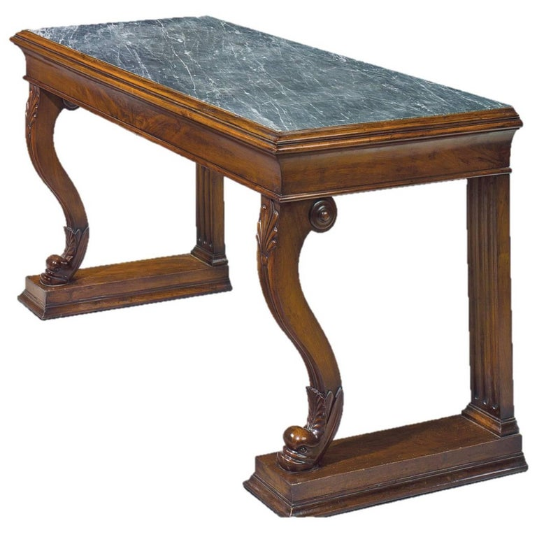 Pair of Early 19th Century Italian Walnut Console Tables