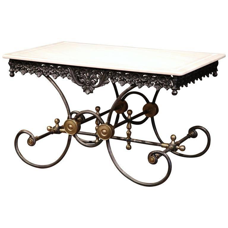 Polished French Iron and Brass Mounts Butcher or Pastry Table with Marble Top