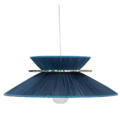 Daisy Hanging Lamp in Blue Silk and Silvered Glover Glass