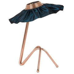 Freevolle sculpture Table Lamp, Copper finish blue Silk Taffeta Handmade