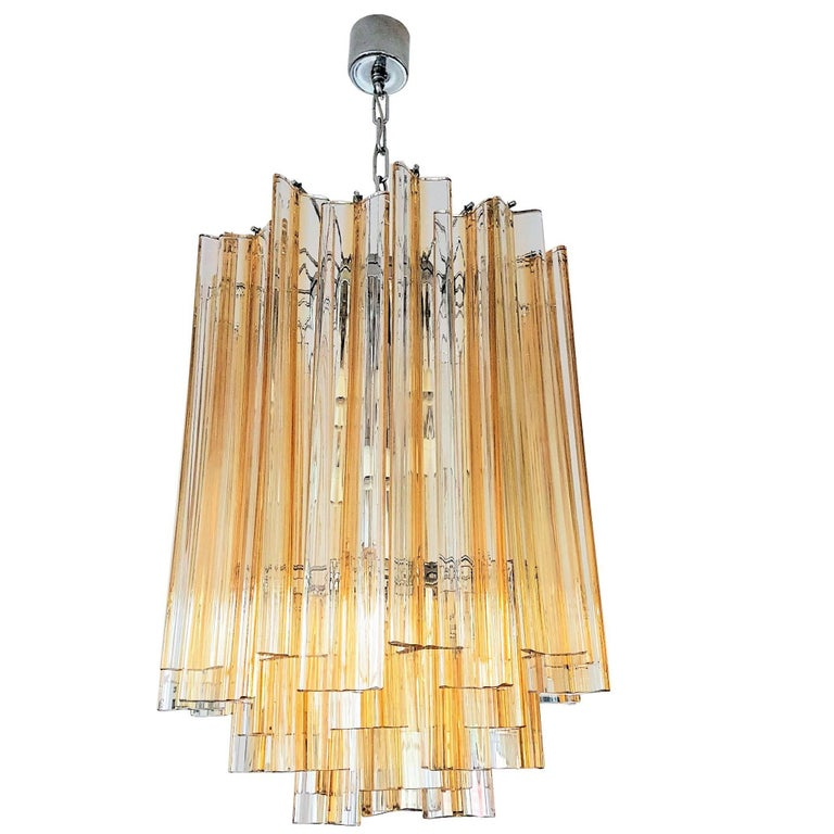 Venini Triedri Glass Chandelier Italy with Amber Color Lines, circa 1960