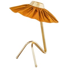 Freevolle sculpture Table Lamp, polished Brass  orange Silk Taffeta Handmade
