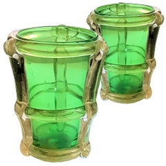 Pair of circa 1970 Large Green and Gold Murano Vases Attributed to Barbini