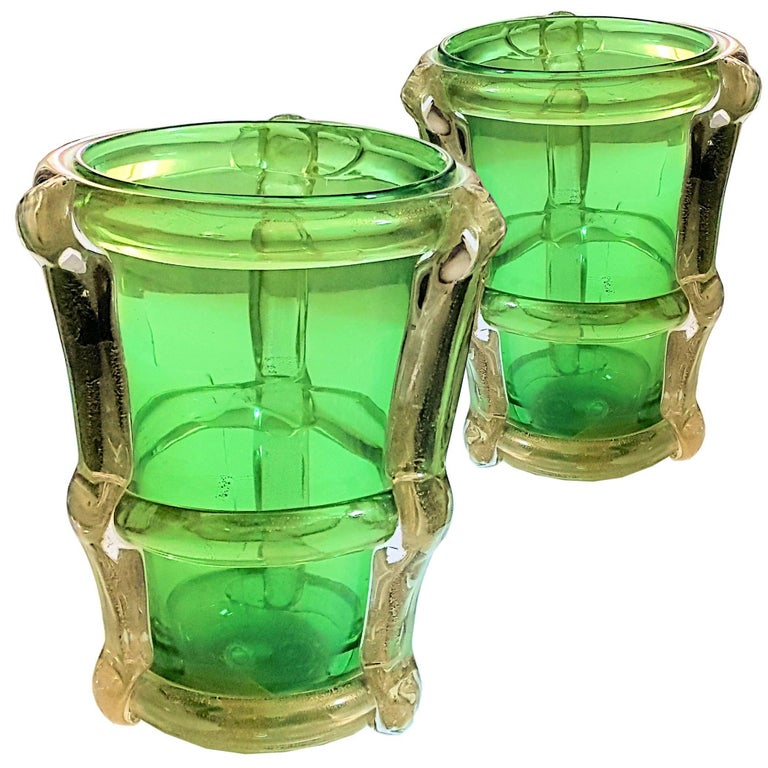 Pair of circa 1970 Large Green and Gold Murano Vases Attributed to Barbini For Sale