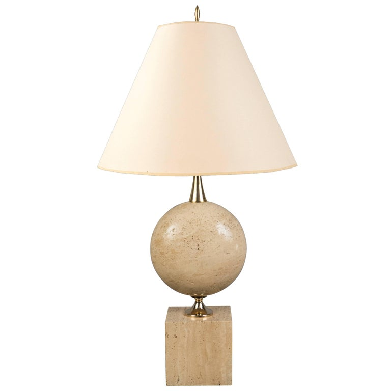 Travertine Lamp, France, 1970s For Sale