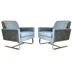 Pair of Cantilevered Floating Hollywood Regency Milo Baughman Lounge Club Chairs