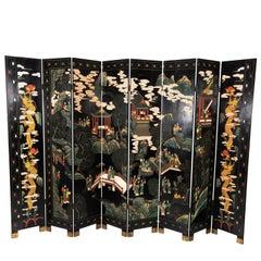 Oriental Coromandel Eight-Panelled Screen