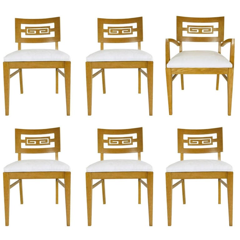 Set of Six Oak Midcentury Greek Key Dining Chairs
