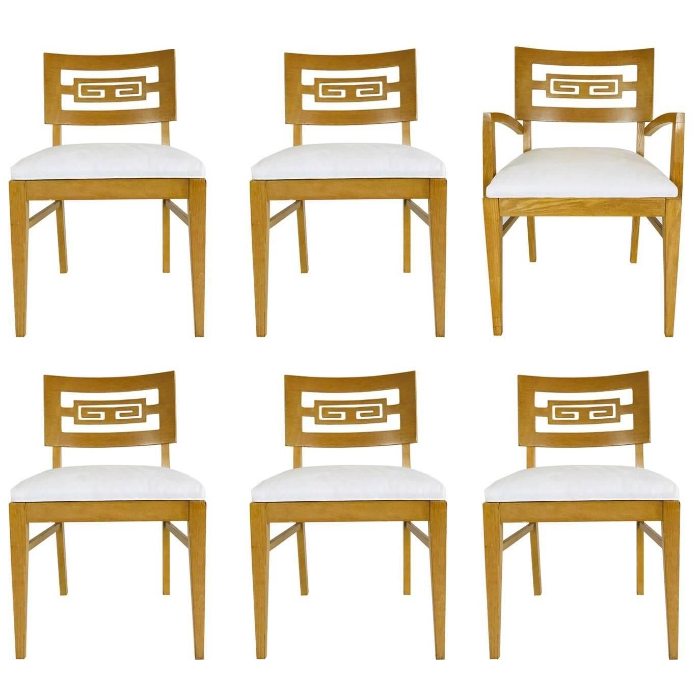 Set Of Six Oak Midcentury Greek Key Dining Chairs For Sale At 1stdibs