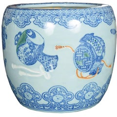 Blue and White Hibachi Vessel with Presentation Objects