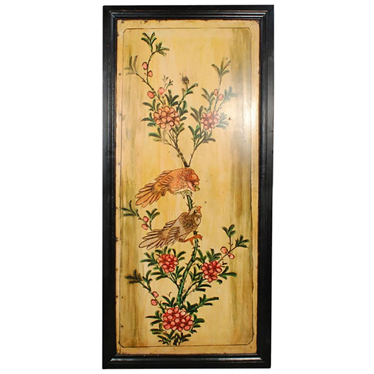 Chinese Painted Bed Panel with Admiring Magpies