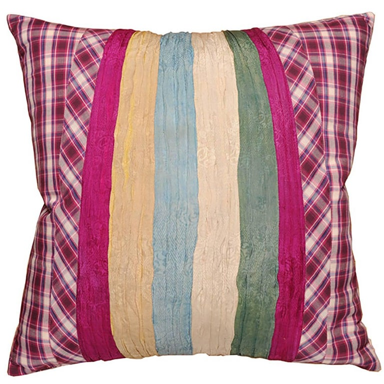 Pillow with Vintage Japanese Pleated Skirt and Plaid