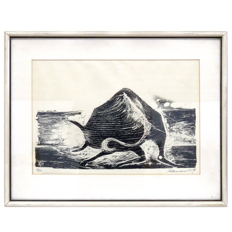 Karl Heinz Hansen-Bahia 'Ox' Woodcut Print, 1959 For Sale