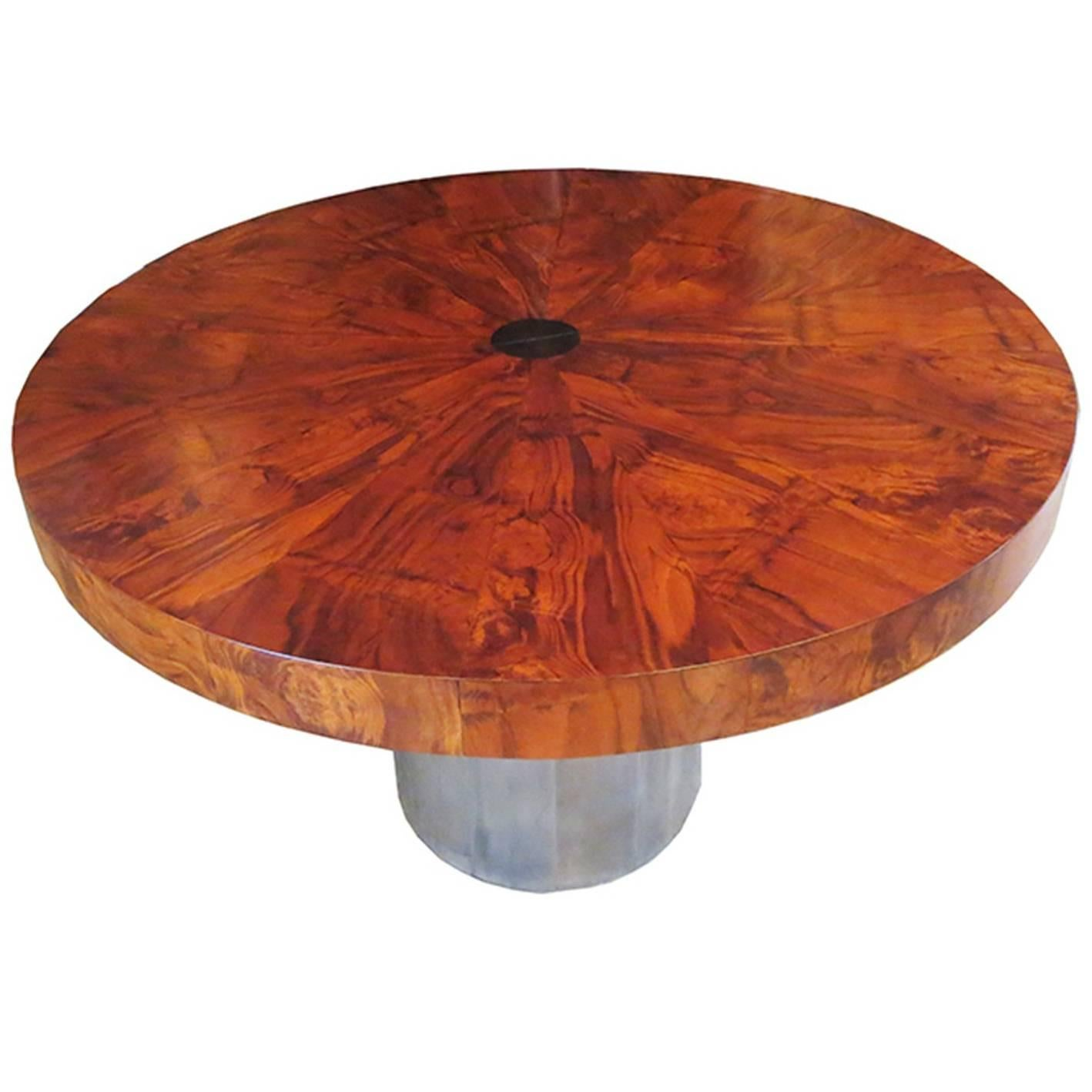 Paul Evans Dining Table, Cityscape Burled Wood And Stainless Steel 1
