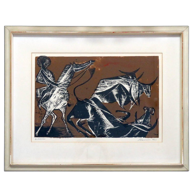 Karl Heinz Hansen-Bahia 'Cowboy' Woodcut Print, 1960 For Sale