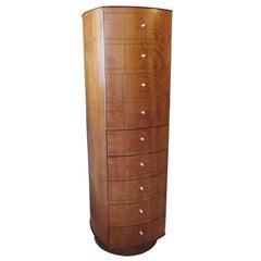 Midcentury Walnut Revolving Valet Dresser Cabinet