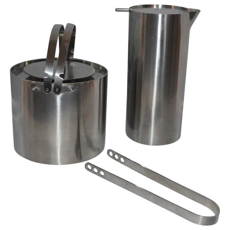 Arne Jacobsen for Stelton Pitcher, Ice Bucket And Tongs