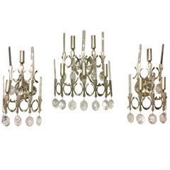 Three Sciolari Italian Crystal Nickel Wall Light Sconces