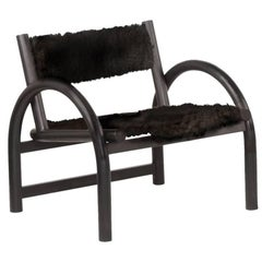 Lounge Chair in Black Dyed Canadian Ash and Sheepskin Seat and Back Rest