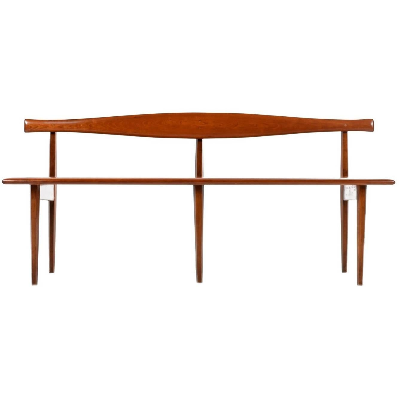 Solid Cherry Bench By Stewart MacDougall And Kipp Stewart For Winchendon,  1950s